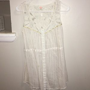 Free people long sleeveless with gold stitching